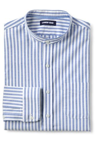 Chemise Oxford Rayée Col Officier, Homme Stature Standard