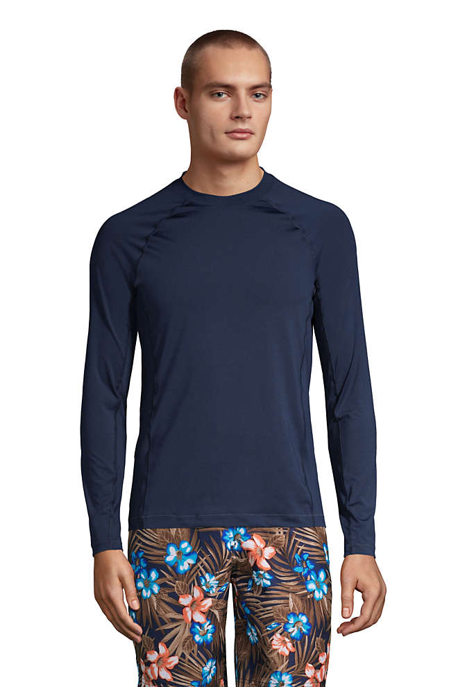Men's Long Sleeve Swim Tee Rash Guard, Front