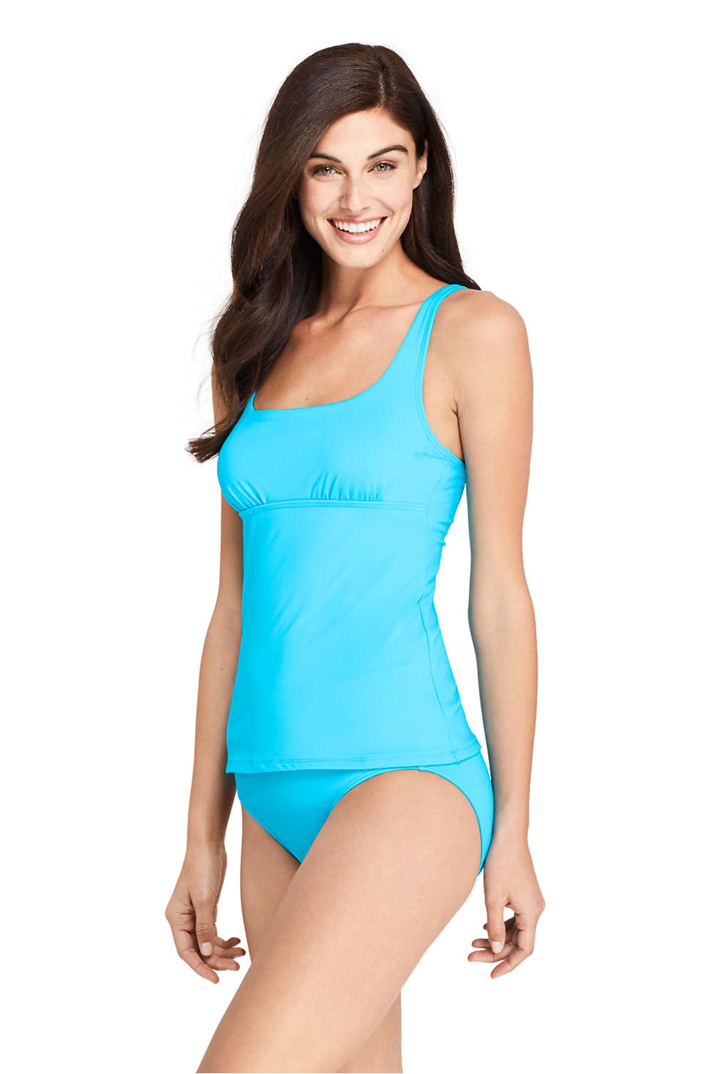 a54f8c17422be Women's Chlorine Resistant Square Neck Underwire Tankini Top Swimsuit from  Lands' End