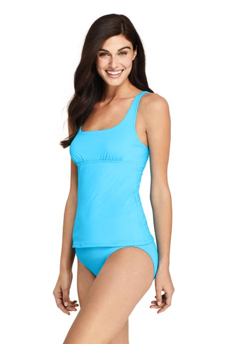Women's Chlorine Resistant Square Neck Underwire Tankini Top Swimsuit