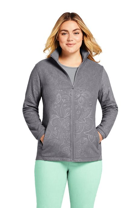 Women's Plus Size Lightweight Fleece Jacket Embossed