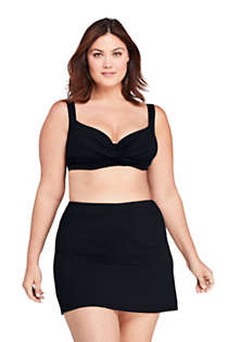 Women's Plus Size DDD-Cup Twist Front V-Neck Underwire Bikini Top Swimsuit with Adjustable Straps, Front
