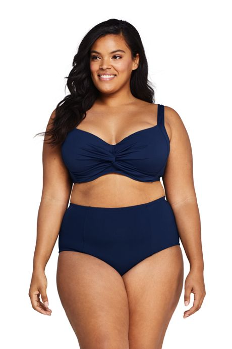 Women's Plus Size Twist Front V-Neck Underwire Bikini Top Swimsuit with Adjustable Straps