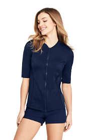 Women's Half Sleeve Full Zip Rash Guard