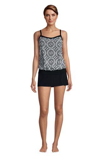 Women's Blouson Tummy Hiding Tankini Top Swimsuit Adjustable Straps Print