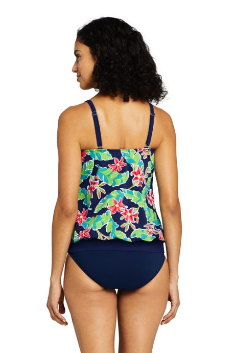 Women's DD-Cup Blouson Tankini Top Swimsuit Print
