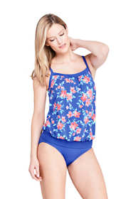 Women's DDD-Cup Blouson Tummy Hiding Tankini Top Swimsuit Adjustable Straps Print