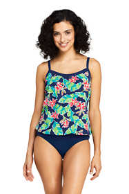 Women's D-Cup Blouson Tummy Hiding Tankini Top Swimsuit Adjustable Straps Print