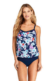 Women's Blouson Tummy Hiding Tankini Top Swimsuit Adjustable Straps Print