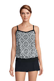 Women's DD-Cup Blouson Tummy Hiding Tankini Top Swimsuit Adjustable Straps Print