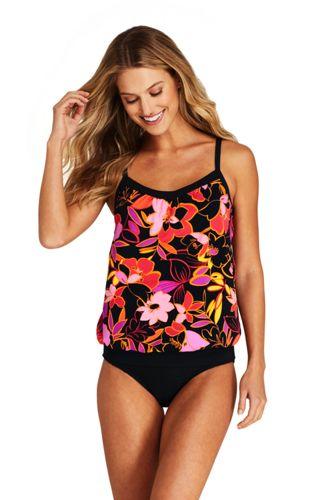 Women's D-Cup Blouson Tummy Hiding Tankini Top Swimsuit Adjustable Straps Print