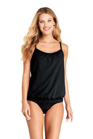 Women's D-Cup Blouson Tummy Hiding Tankini Top Swimsuit Adjustable Straps