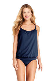 Women's D-Cup Blouson Tankini Top Swimsuit