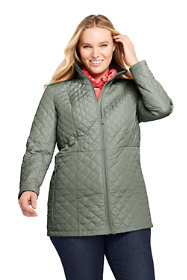 Women's Plus Size Petite Quilted Barn Insulated Long Jacket