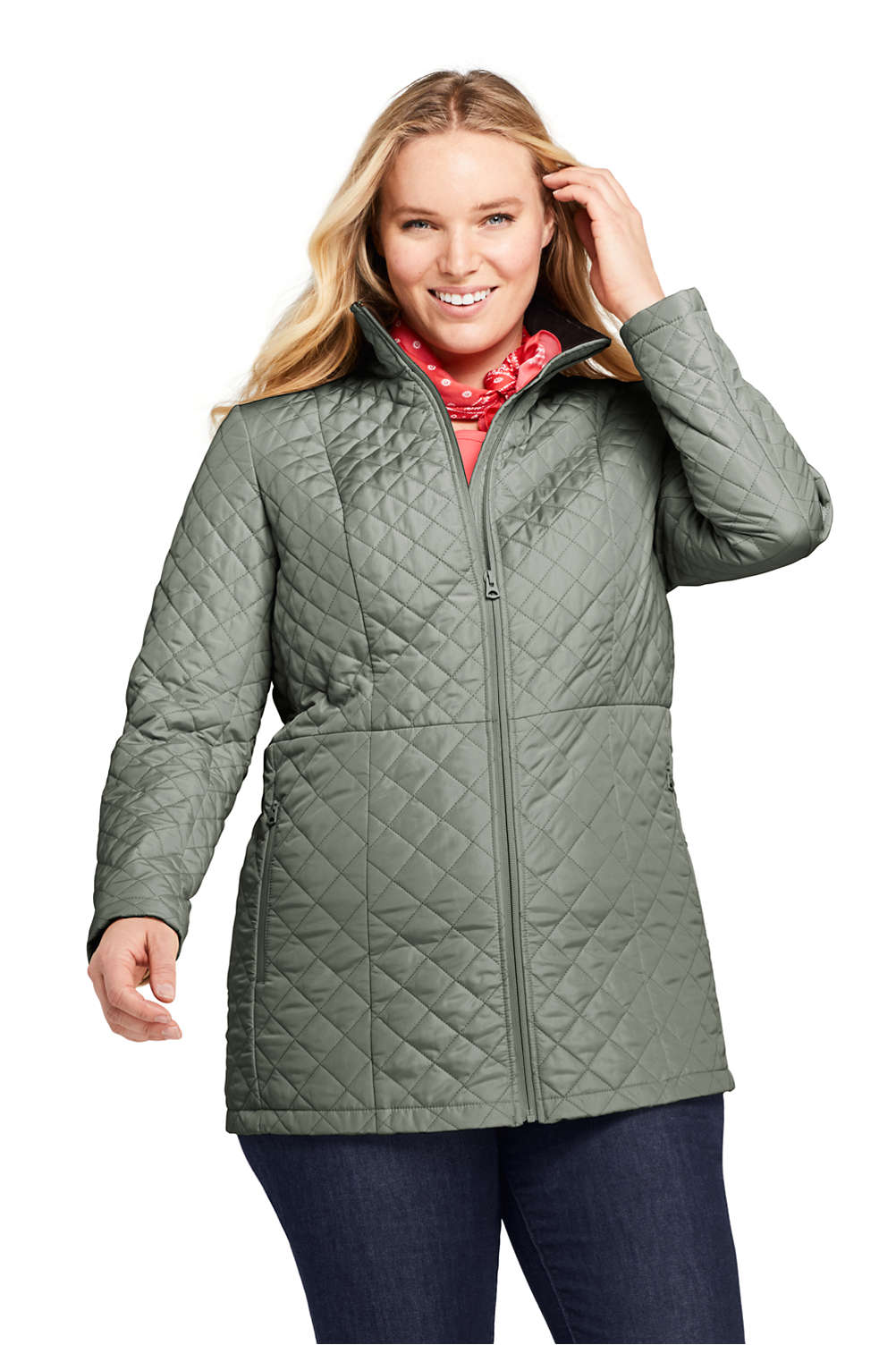 fbc1d536b6 Women s Plus Size Quilted Insulated Long Jacket from Lands  End