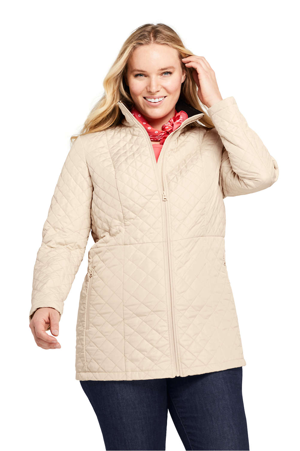 adc9389bca Women s Plus Size Quilted Insulated Long Jacket from Lands  End
