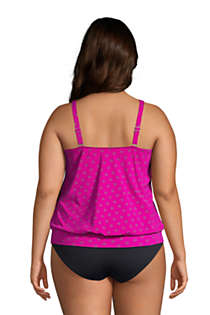 Women's Plus Size Blouson Tummy Hiding Tankini Top Swimsuit Adjustable Straps, Back