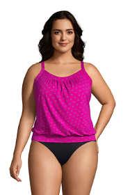 Women's Plus Size Blouson Tummy Hiding Tankini Top Swimsuit Adjustable Straps