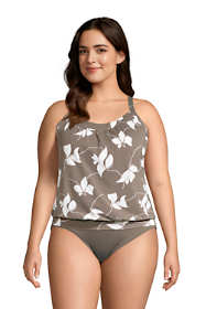 Women's Plus Size Blouson Tummy Hiding Tankini Top Swimsuit Adjustable Straps