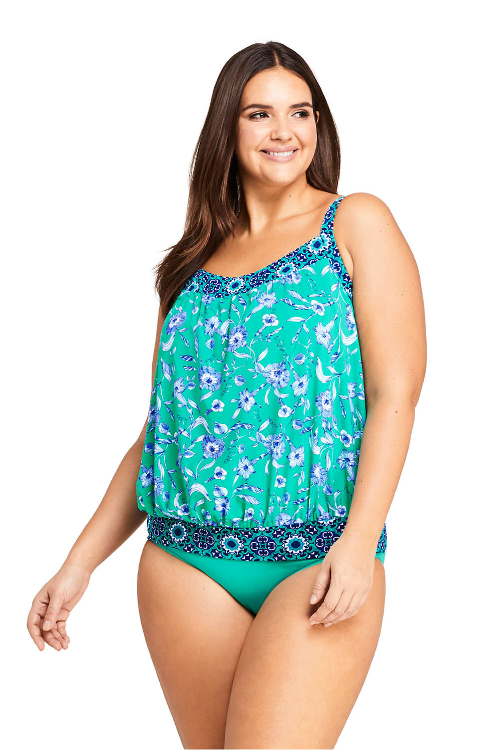 f0cfc53f1e Women's Plus Size Blouson Tankini Top Swimsuit Print from Lands' End