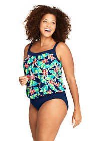 Women's Plus Size DD-Cup Blouson Tankini Top Swimsuit Print