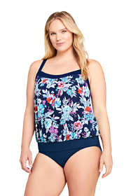 Women's Plus Size DD-Cup Blouson Tummy Hiding Tankini Top Swimsuit Adjustable Straps