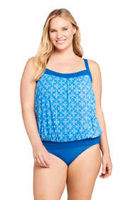 Women's Plus Size DDD-Cup Blouson Tummy Hiding Tankini Top Swimsuit Adjustable Straps