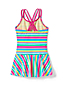 Girls' Mix & Match Stripe Skirted Cross-back Swimsuit
