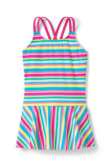 Girls' Mix & Match Stripe Skirted Cross-back Swimsuit