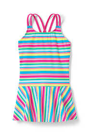 Little Girls Cross Back Skirted One Piece Swimsuit