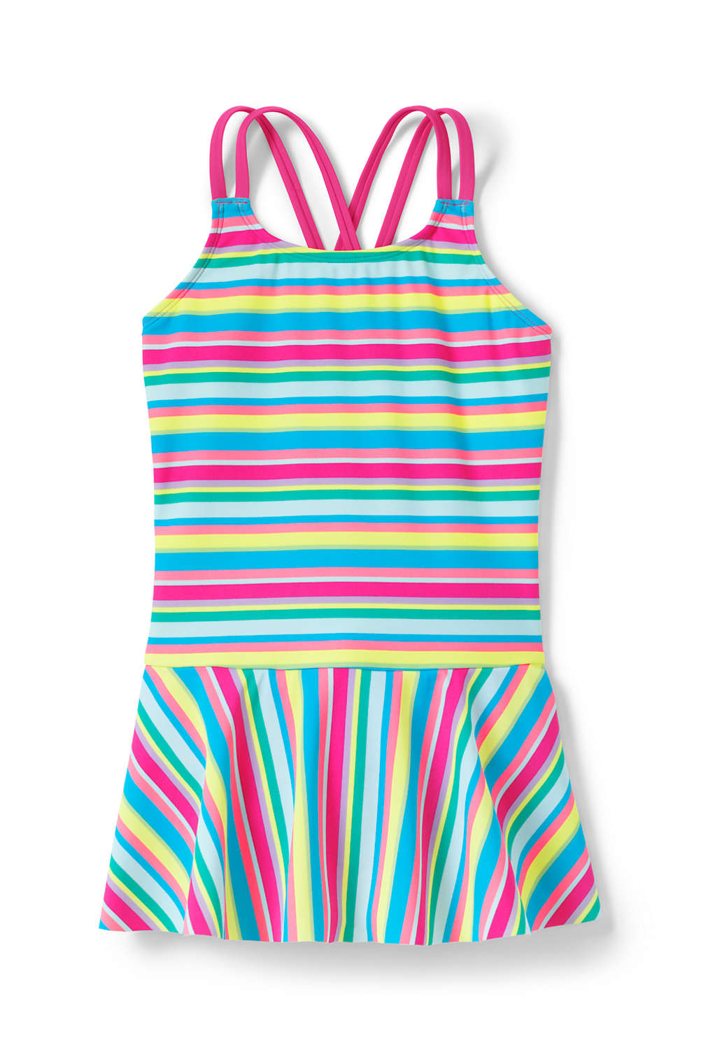 176e193c5e399 Girls Cross Back Skirted One Piece Swimsuit from Lands' End