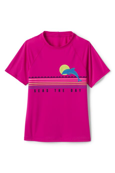Girls Graphic Mock Neck UPF 50 Sun Protection Rash Guard