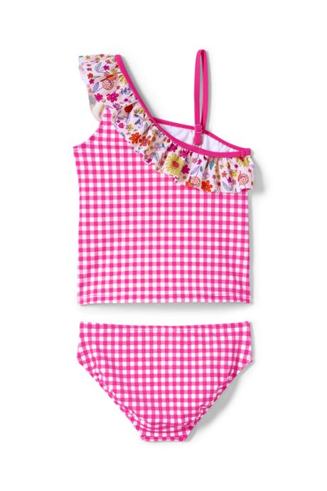 Girls Slim Print Ruffle Shoulder Tankini Set