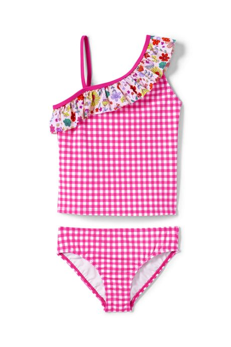 Girls Print Ruffle Shoulder Tankini Set
