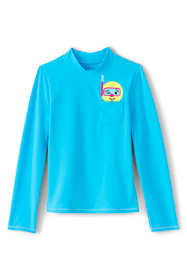 Little Girls Graphic Pocket Mock Neck Rash Guard