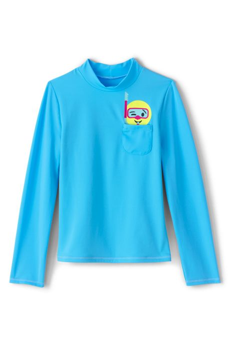Girls Graphic Pocket Mock Neck Rash Guard