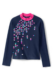Toddler Girls Graphic Mock Neck Rash Guard