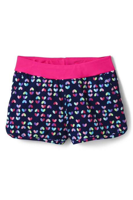 Girls Slim Comfort Waist Print Swim Shorts