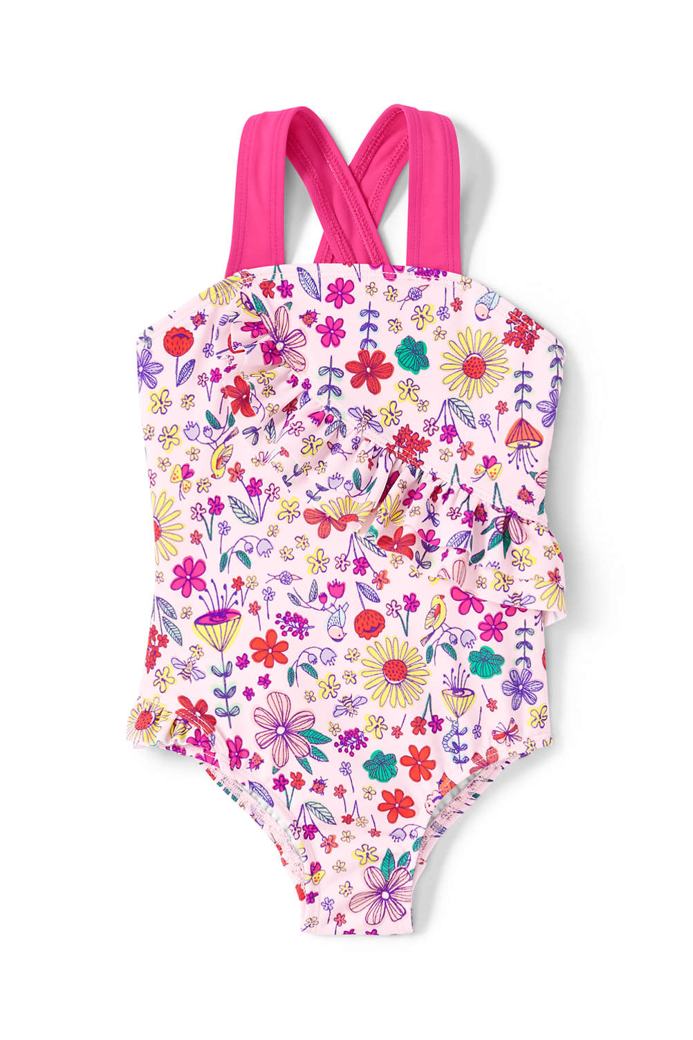 7948eb6abe6c8 Toddler Girls Printed Ruffle One Piece Swimsuit from Lands' End