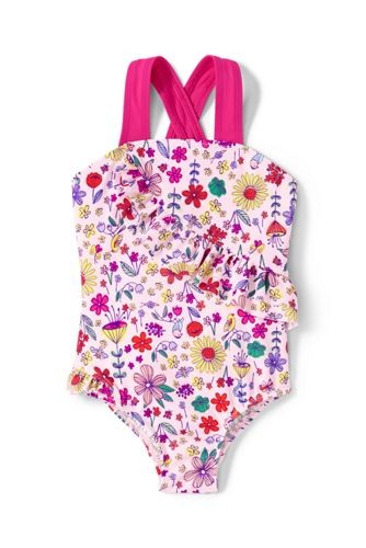 Toddler Girls Printed Ruffle One Piece Swimsuit