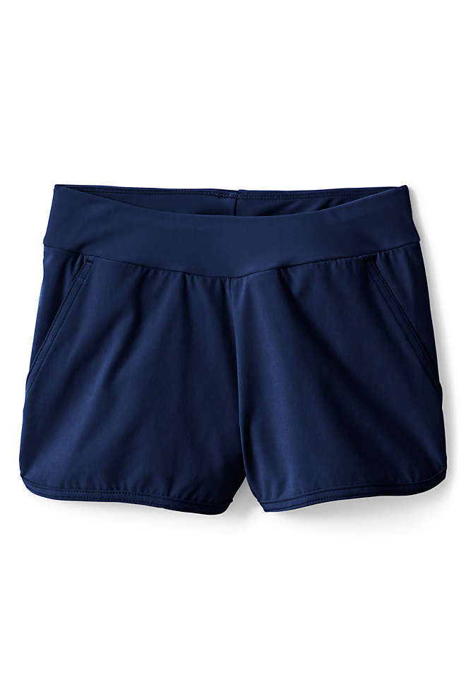 Little Girls Comfort Waist Stretch Swim Shorts, Front