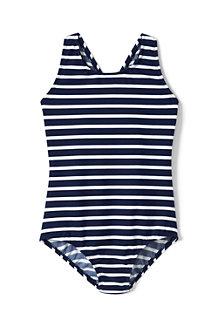 Gemusterter Badeanzug mit gekreuzten Trägern für Mädchen