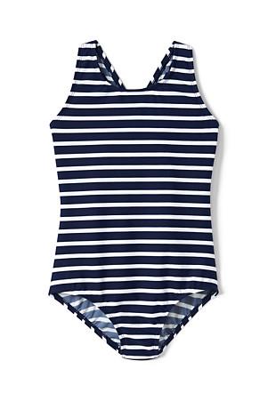 b895e15489 Girls' Essential Stripe Cross-back Swimsuit   Lands' End
