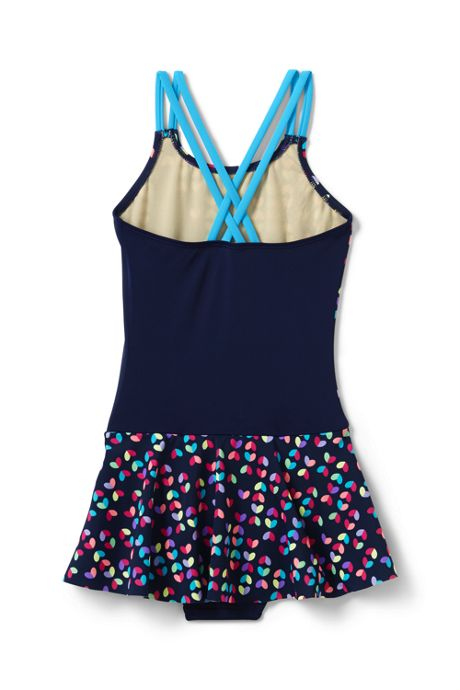 Girls Cross Back Skirted One Piece Swimsuit