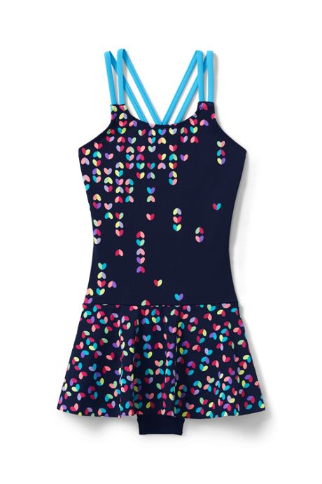 Girls Slim Cross Back Skirted One Piece Swimsuit