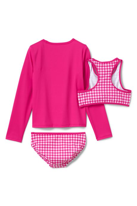 Girls Graphic Rash Guard and Bikini Set