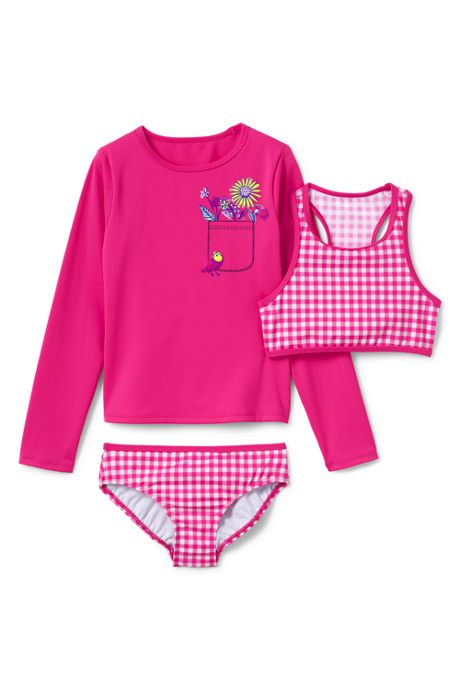 Girls Slim Bikini and Rash Guard Graphic Set
