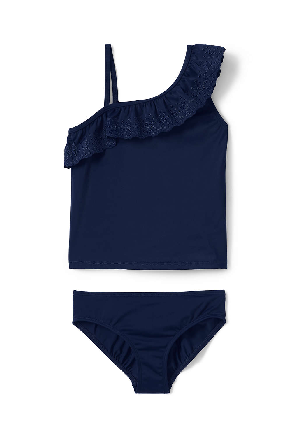 dbcc0feda1eb7 Girls Eyelet Ruffle Tankini Set from Lands' End