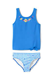 Little Girls Graphic Tie Front Tankini Set