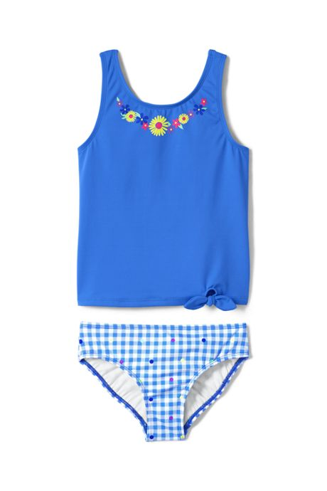 Girls Slim Graphic Tie Front Tankini Set